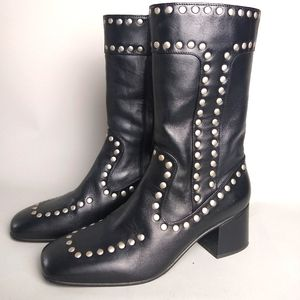 Coach Black leather studded boots.